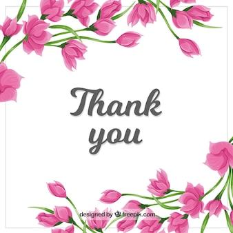 Merci de fond avec des fleurs roses