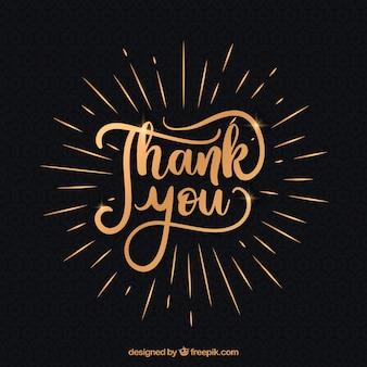 Merci fond avec des lettres dorées