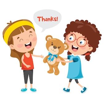 Merci illustration avec des personnages de dessins animés