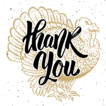 Merci illustration de la turquie sur fond blanc. thème de thanksgiving. élément pour affiche, carte,. illustration
