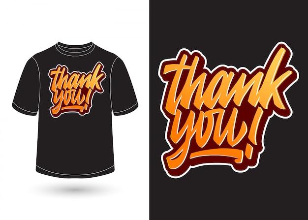Merci lettrage à la main pour la conception de t-shirt