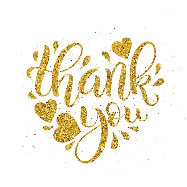 Merci lettrage d'or. calligraphie en forme de coeur dessiné à la main. illustration.