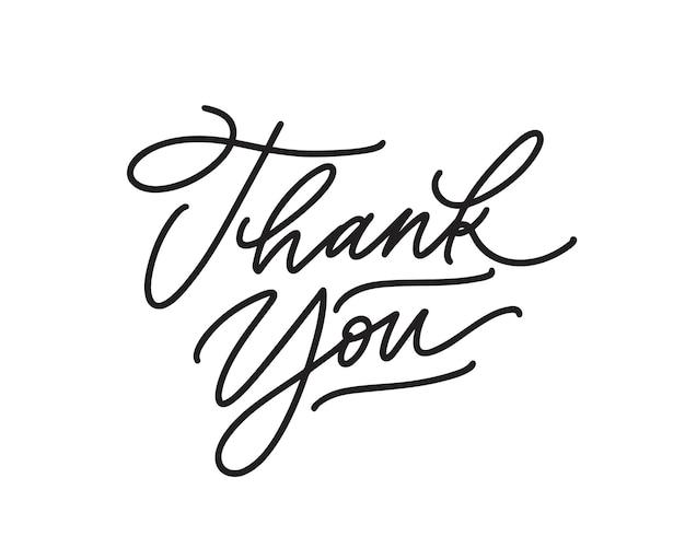 Merci lettrage de vecteur de stylo à encre manuscrite. mots d'appréciation, expression d'expression de gratitude isolée sur fond blanc. élément de conception de carte de voeux de thanksgiving. calligraphie à main levée.
