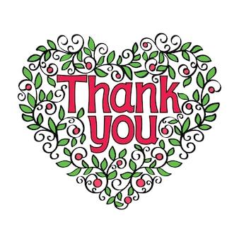 Merci main lettrage calligraphie en forme d'illustration vectorielle coeur