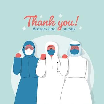 Merci médecins et infirmières au design plat