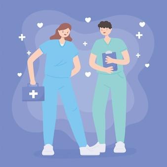 Merci médecins et infirmières, infirmières masculines et féminines avec kit et presse-papiers