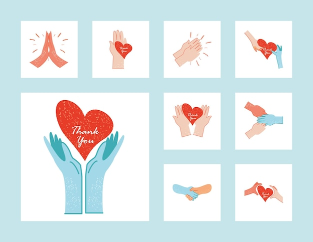 Merci médecins et infirmières mains avec illustration de collection de coeurs