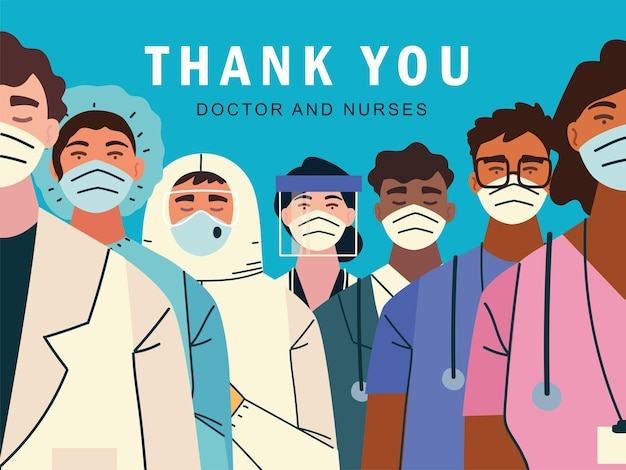 Merci, médecins et infirmières pour la lutte contre l'illustration de l'infection à coronavirus