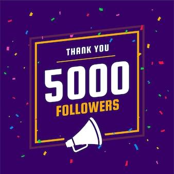 Merci modèle d'abonnés et d'abonnés aux réseaux sociaux 5k