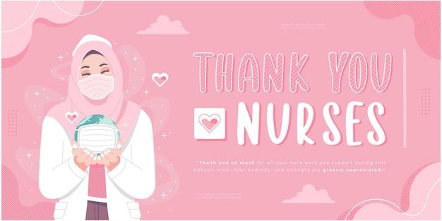 Merci modèle de bannière d'infirmières