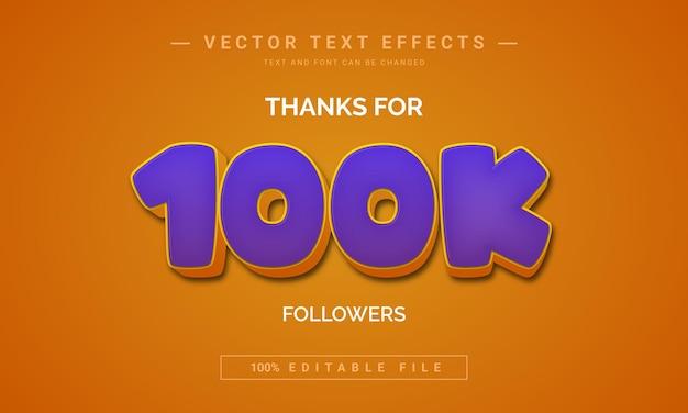Merci pour l'effet de texte de 100 000 abonnés