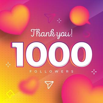 Merci pour la publication vectorielle de 1000 abonnés