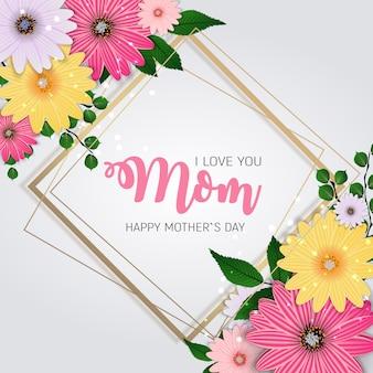Merci pour tout, maman. bonne fête des mères mignon avec des fleurs. illustration