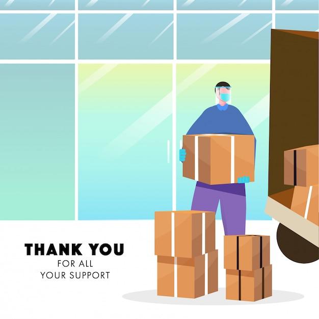 Merci pour tout votre concept de soutien, homme de courrier protecteur tenant le paquet avec camion de livraison sur fond abstrait.