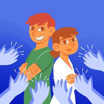 Merci thème d'illustration médecins et infirmières