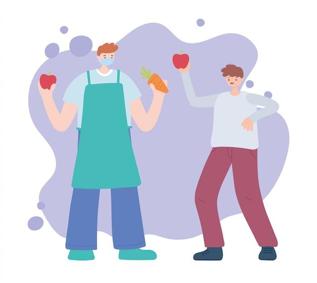 Merci travailleurs essentiels, agriculteur et garçon avec des fruits et légumes, portant un masque facial, illustration de la maladie de coronavirus