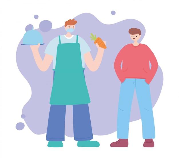 Merci travailleurs essentiels, agriculteur avec plateau de carottes et homme client, portant un masque facial, illustration de la maladie de coronavirus