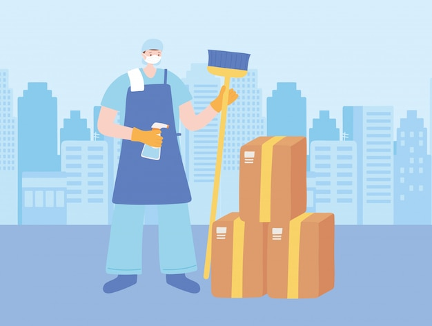 Merci travailleurs essentiels, homme plus propre avec balai et boîtes en carton, portant des masques, illustration de la maladie du coronavirus