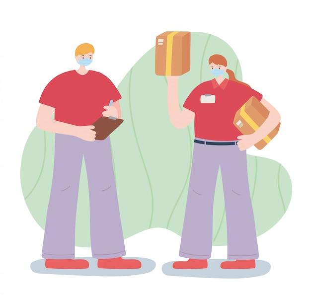 Merci travailleurs essentiels, livreur et femme avec des boîtes, des masques, illustration de la maladie de coronavirus