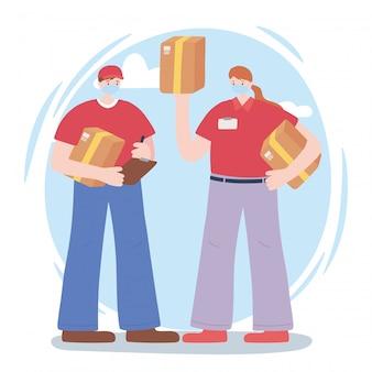 Merci travailleurs essentiels, livreur et femme avec des boîtes, portant des masques faciaux, illustration de la maladie de coronavirus