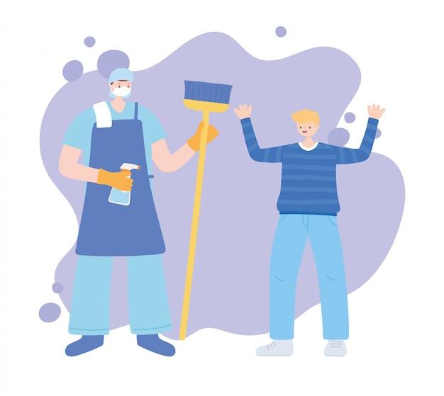 Merci travailleurs essentiels, nettoyeur charatcer avec garçon, illustration de la maladie de coronavirus