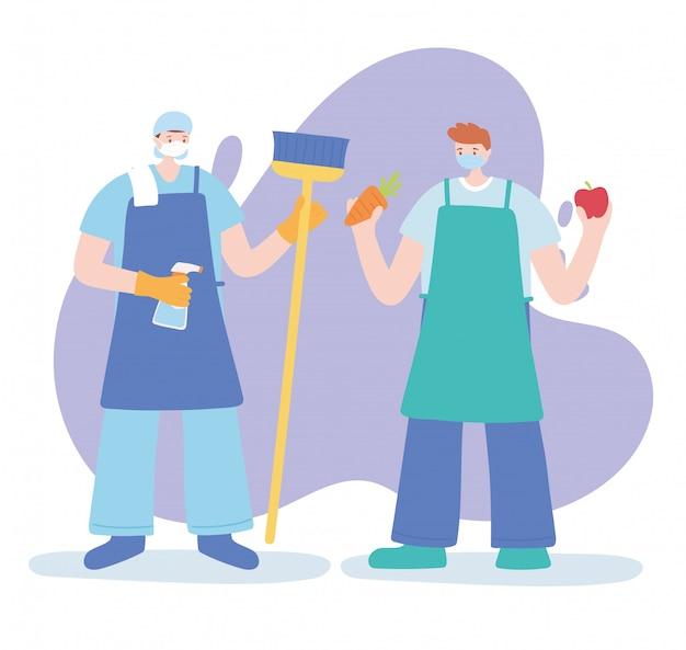 Merci travailleurs essentiels, nettoyeurs et personnages d'agriculteurs portant des masques faciaux, illustration de la maladie du coronavirus