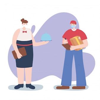 Merci travailleurs essentiels, serveuse et livreur, portant des masques faciaux, illustration de la maladie de coronavirus