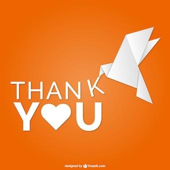Merci vecteur origami oiseau