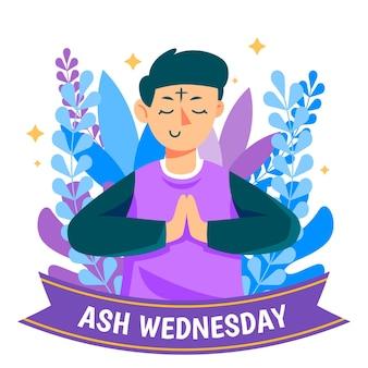Mercredi des cendres dessiné à la main illustré