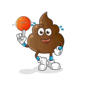 La merde jouant au basket-ball mascotte. dessin animé