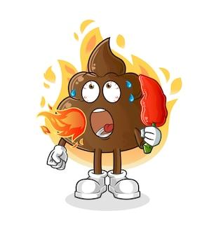 La merde mange la mascotte de dessin animé de piment chaud