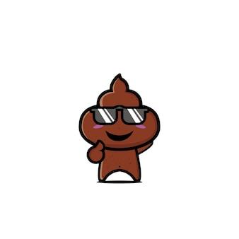 Merde mignon personnage plat cartoon vector illustration icône design drôle