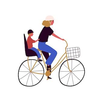 Mère active et fils montent sur l'illustration plate de vecteur de vélo
