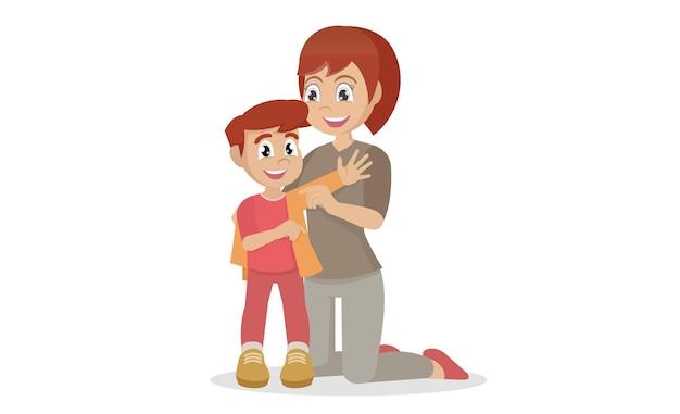 Mère aidant à s'habiller sur son enfant garçon