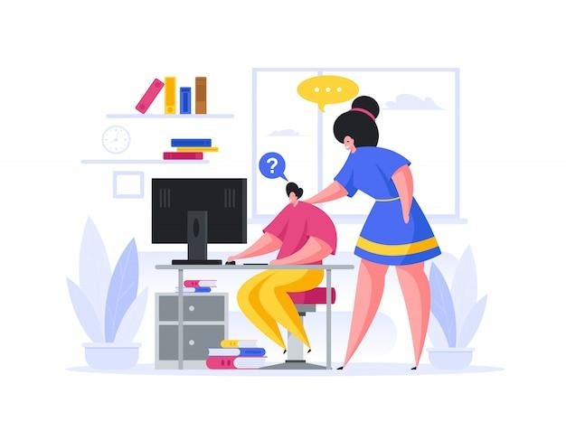 Mère aidant son fils pendant la leçon en ligne à la maison