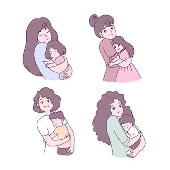 Mère aimant son ensemble d & # 39; illustrations enfant