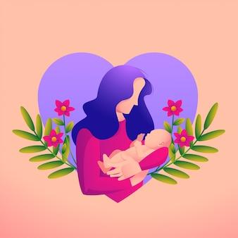 Mère aime son bébé avec un symbole de coeur et de fleur