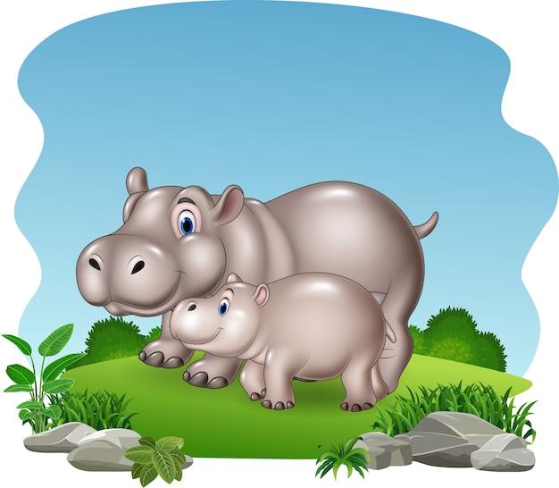 Mère de bande dessinée et bébé hippopotame dans la jungle