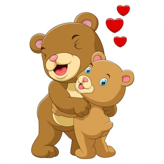 Mère de bande dessinée et bébé ours brun