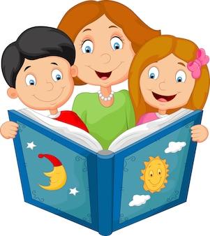 Mère de bande dessinée lisant avec ses enfants