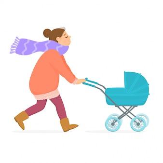 Mère avec le bébé dans le landau