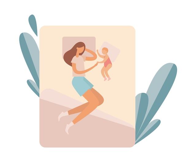 Mère avec bébé reposant sur le lit. illustration