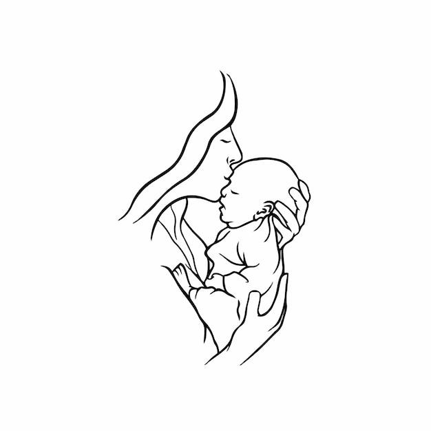 Mère et bébé symbole logo tattoo design stencil vector illustration