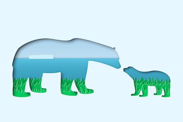 Mère blanche polaire de l'arctique du nord
