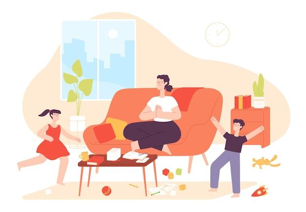 Mère calme. maman fait des exercices de yoga et de méditation et des enfants coquins bruyants sautent. chaos à la maison et patience parentale, concept de vecteur de dessin animé. méditation de mère d'illustration, relaxation de sport calme