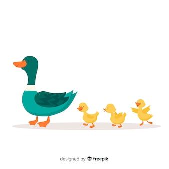Mère canard menant la conception plate de canetons