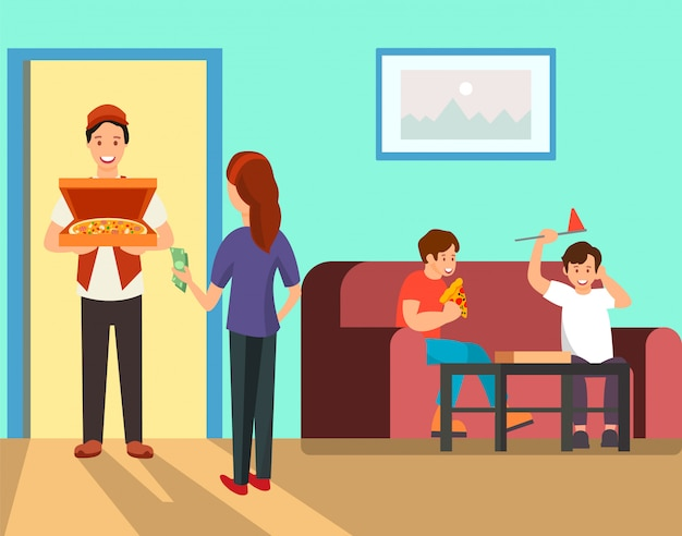 Mère, commande, pizza, dîner, illustration