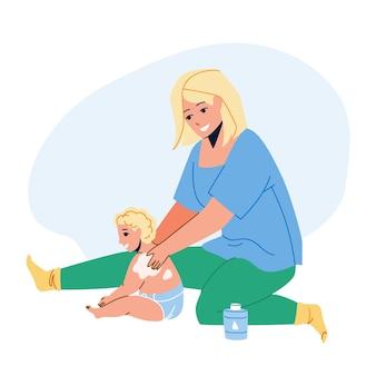 Mère de crème de bébé appliquant sur le vecteur de dos d'enfant. une femme applique une crème pour bébé sur un enfant en bas âge. personnages fille et bébé utilisent des cosmétiques lotion de soins de santé pour l'illustration de dessin animé plat de soins de la peau