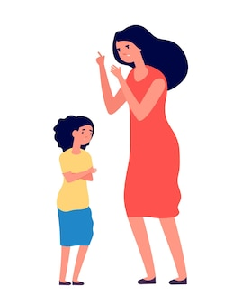 Mère crie à sa fille malheureuse.