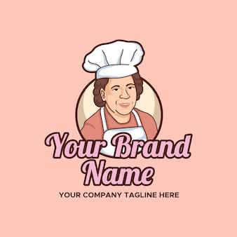 Mère cuisine et boulangerie vector illustration logo modèle avec fond rose